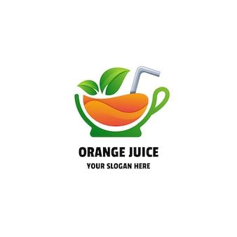 Modèle de logo coloré de dégradé de jus d'orange ou de smoothie