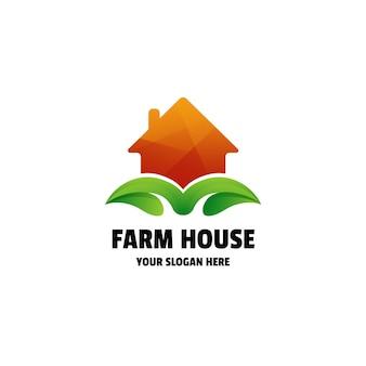 Modèle de logo coloré dégradé maison de ferme
