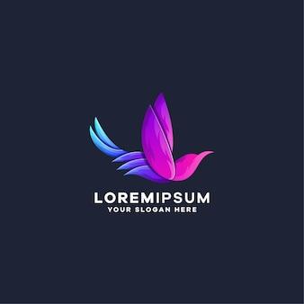 Modèle de logo coloré dégradé d'oiseau