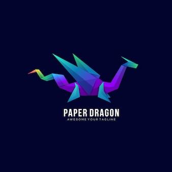 Modèle de logo coloré dégradé papier dragon