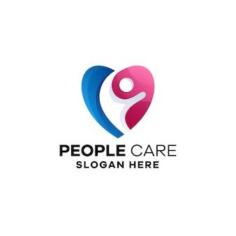 Modèle de logo coloré dégradé de soins de personnes