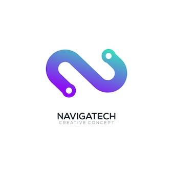Modèle de logo coloré dégradé de technologie moderne lettre n