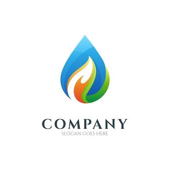 Modèle de logo coloré goutte d'eau
