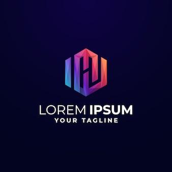 Modèle De Logo Coloré Hexagon Wm H Vecteur Premium