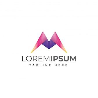 Modèle de logo coloré lettre m