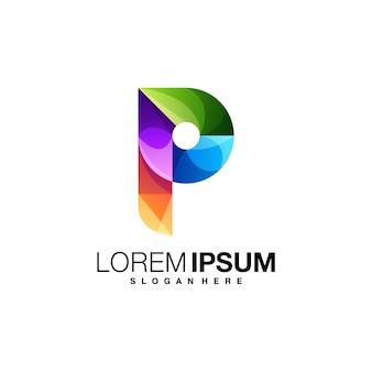 Modèle de logo coloré lettre p