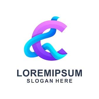 Modèle de logo coloré lettre c