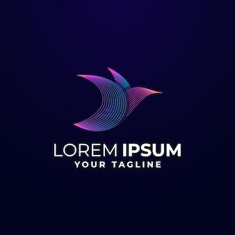 Modèle de logo coloré wave bird