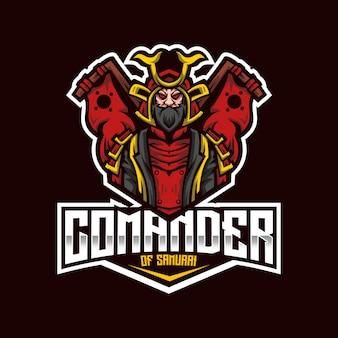 Modèle de logo comander of samurai esport