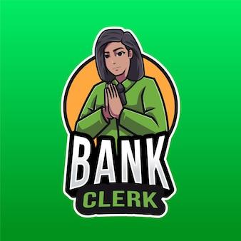 Modèle de logo de commis de banque isolé sur vert