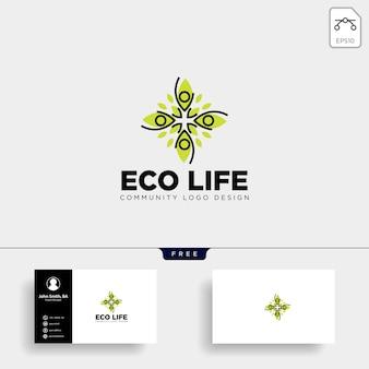 Modèle de logo de communauté arbre feuille humaine