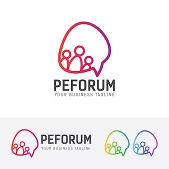 Modèle de logo de communication de forum de personnes