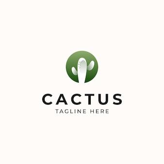 Modèle de logo de concept moderne de cactus isolé en fond blanc