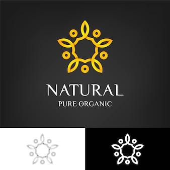 Modèle de logo de concept naturel holistique