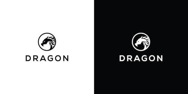 Modèle de logo de conception d'icône de vecteur de dragon vecteur premium