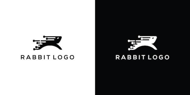 Modèle de logo de conception d'icône de vecteur de lapin vecteur premium