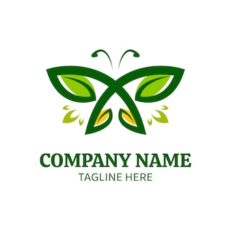 Modèle de logo de conception de papillon avec des ailes de feuilles