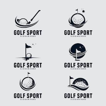Modèle de logo de conception de sport de golf
