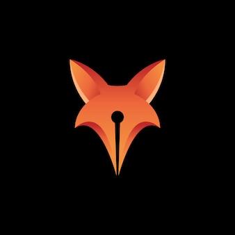 Modèle de logo de conception de stylo renard