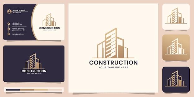 Modèle de logo de construction. architectes, agencements, bâtiments modernes, pour les entreprises du domaine du bâtiment et des architectes, inspiration de conception de logo avec carte de visite. vecteur premium