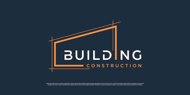 Modèle de logo de construction avec un concept d'art au trait minimaliste vecteur premium