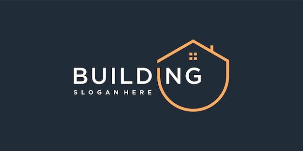 Modèle de logo de construction avec un concept de cercle unique vecteur premium