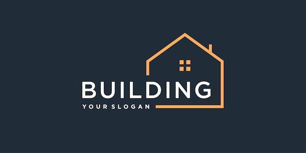 Modèle de logo de construction avec un concept de maison unique vecteur premium