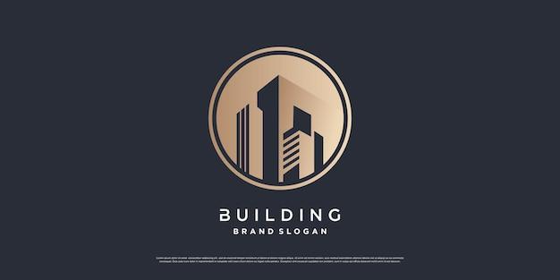 Modèle de logo de construction avec un concept unique et moderne vecteur premium partie 1