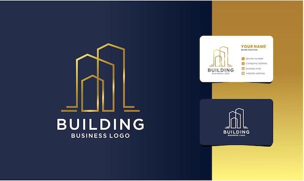 Modèle de logo de construction avec une couleur de style doré pour l'entreprise.