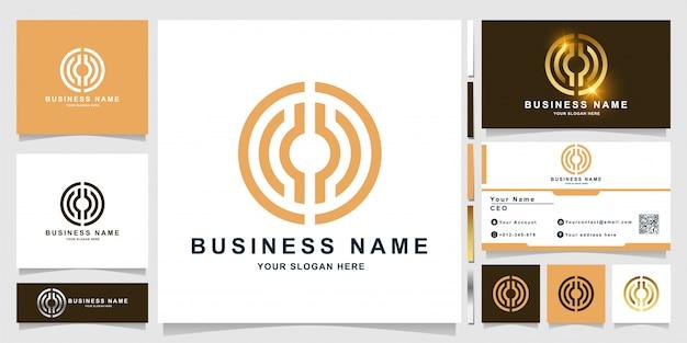 Modèle de logo de construction de ligne minimaliste, immobilier ou lettre o avec conception de carte de visite