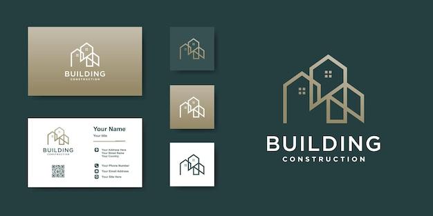 Modèle de logo de construction avec un style d'art en ligne créatif vecteur premium