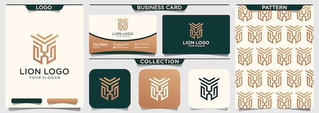 Modèle de logo de contour d'art de ligne de bouclier de lion
