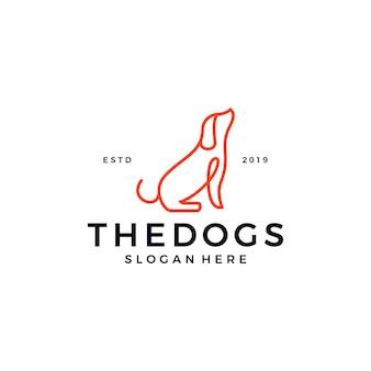 Modèle de logo contour chien ligne