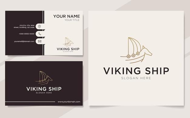 Modèle de logo de contour de navire viking de luxe et carte de visite