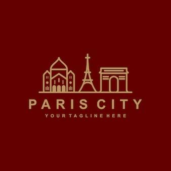 Modèle de logo de contour de paris