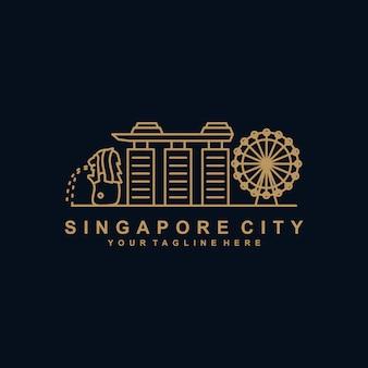 Modèle de logo de contour de ville de singapour