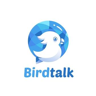 Modèle de logo de conversation d'oiseau