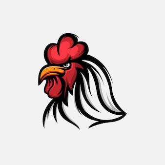Modèle de logo de coq en colère avec une couleur rouge et blanche