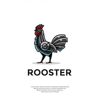 Modèle de logo de coq robotique unique