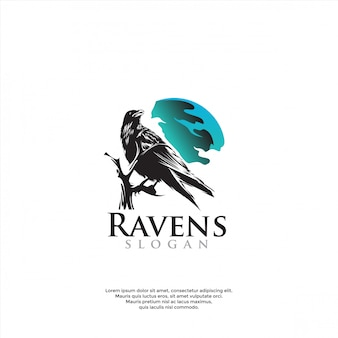 Modèle de logo corbeau unique