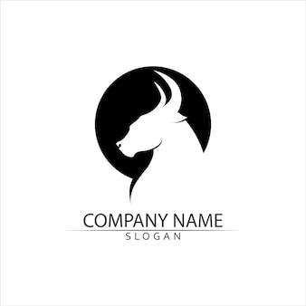 Modèle de logo de corne de taureau et de buffle