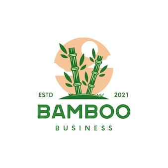 Modèle de logo coucher de soleil en bambou isolé sur blanc
