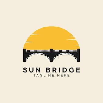 Modèle de logo coucher de soleil et pont