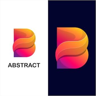 Modèle de logo de couleur dégradé abstrait lettre b