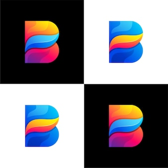 Modèle de logo de couleur dégradé lettre b abstraite