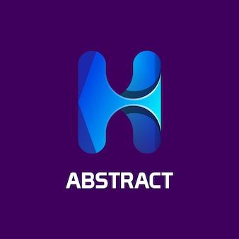 Modèle de logo de couleur dégradé lettre h