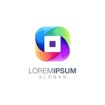 Modèle de logo couleur dégradé lettre o