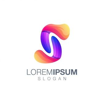 Modèle de logo couleur dégradé lettre s