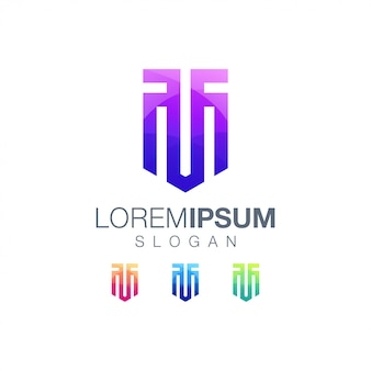Modèle de logo couleur dégradé lettre tm
