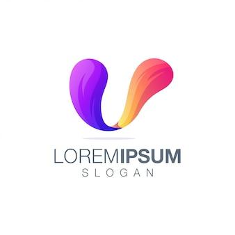 Modèle de logo couleur dégradé lettre u